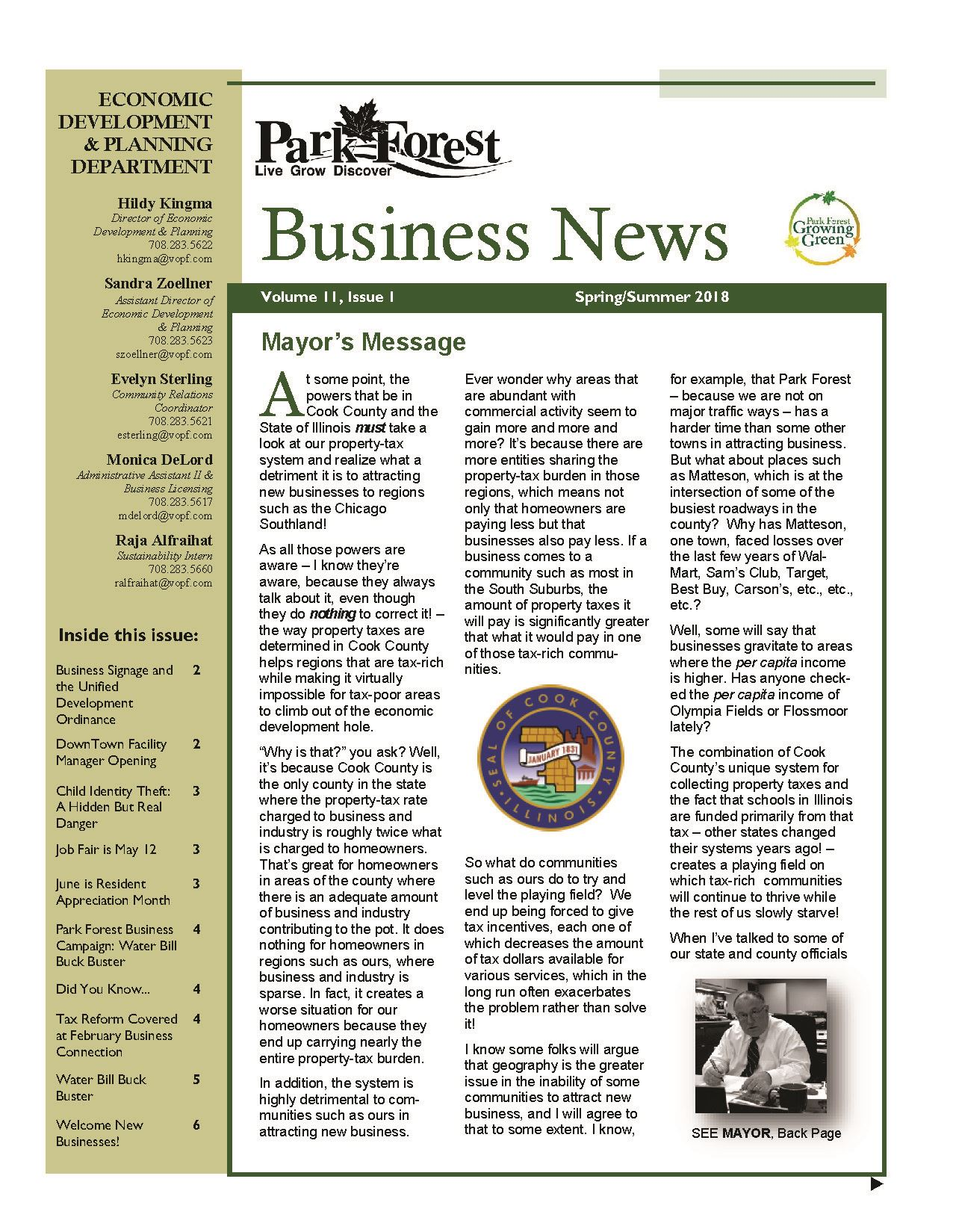 2018 Spring Summer Edition of Park Forest Business News
