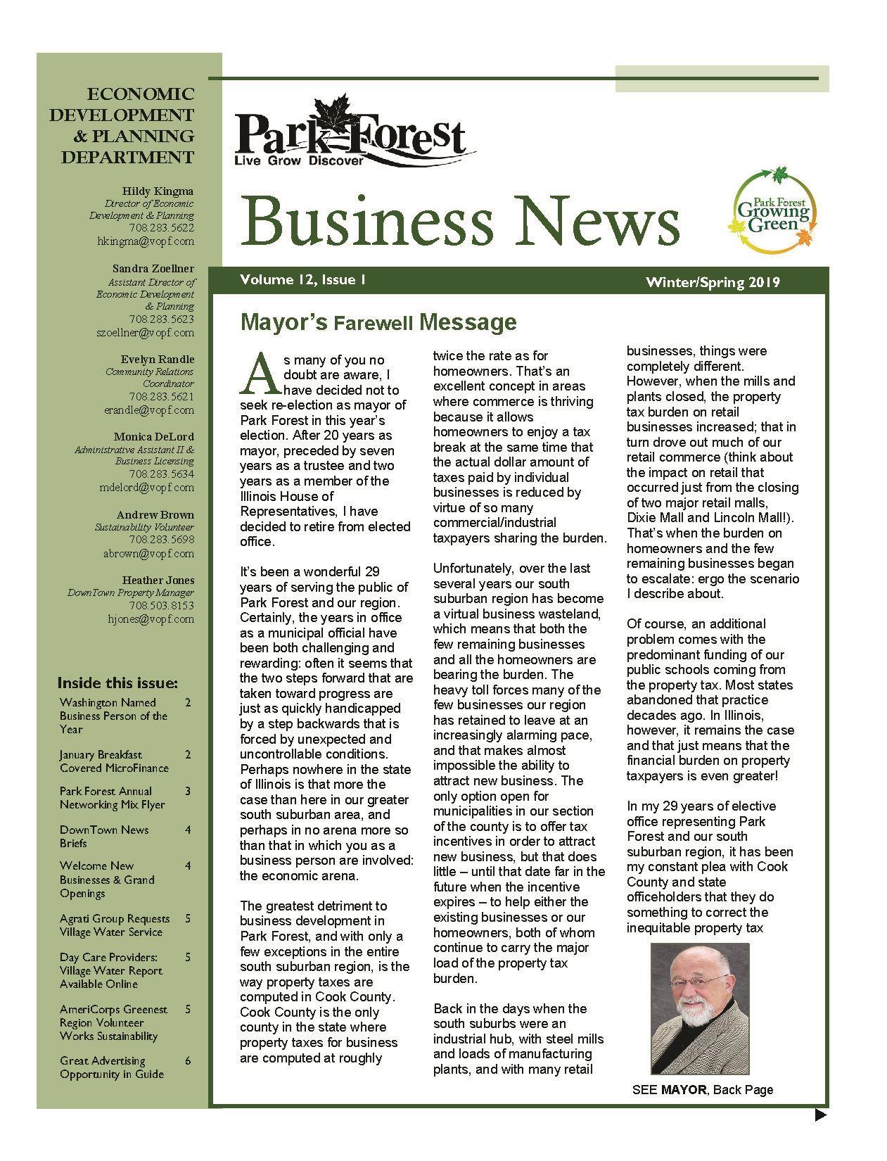 e5c30b2ba586b 2019 Winter Spring Edition of Park Forest Business News