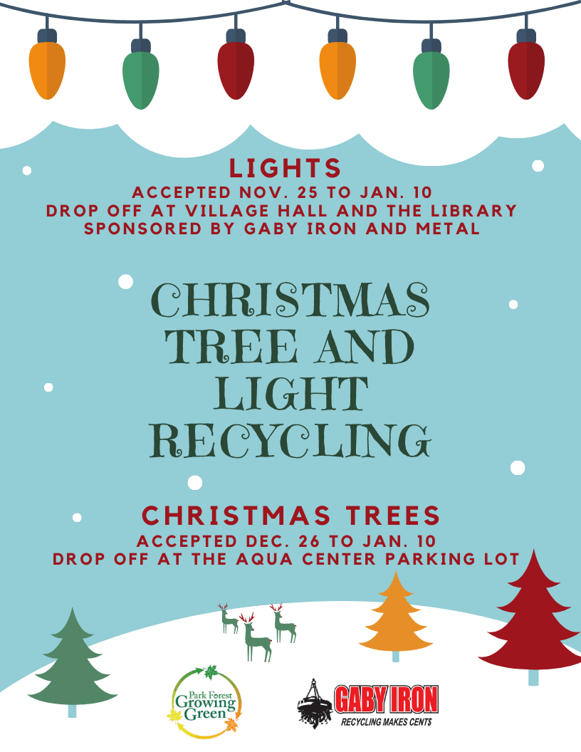 Christmas Tree and light recycling flyer