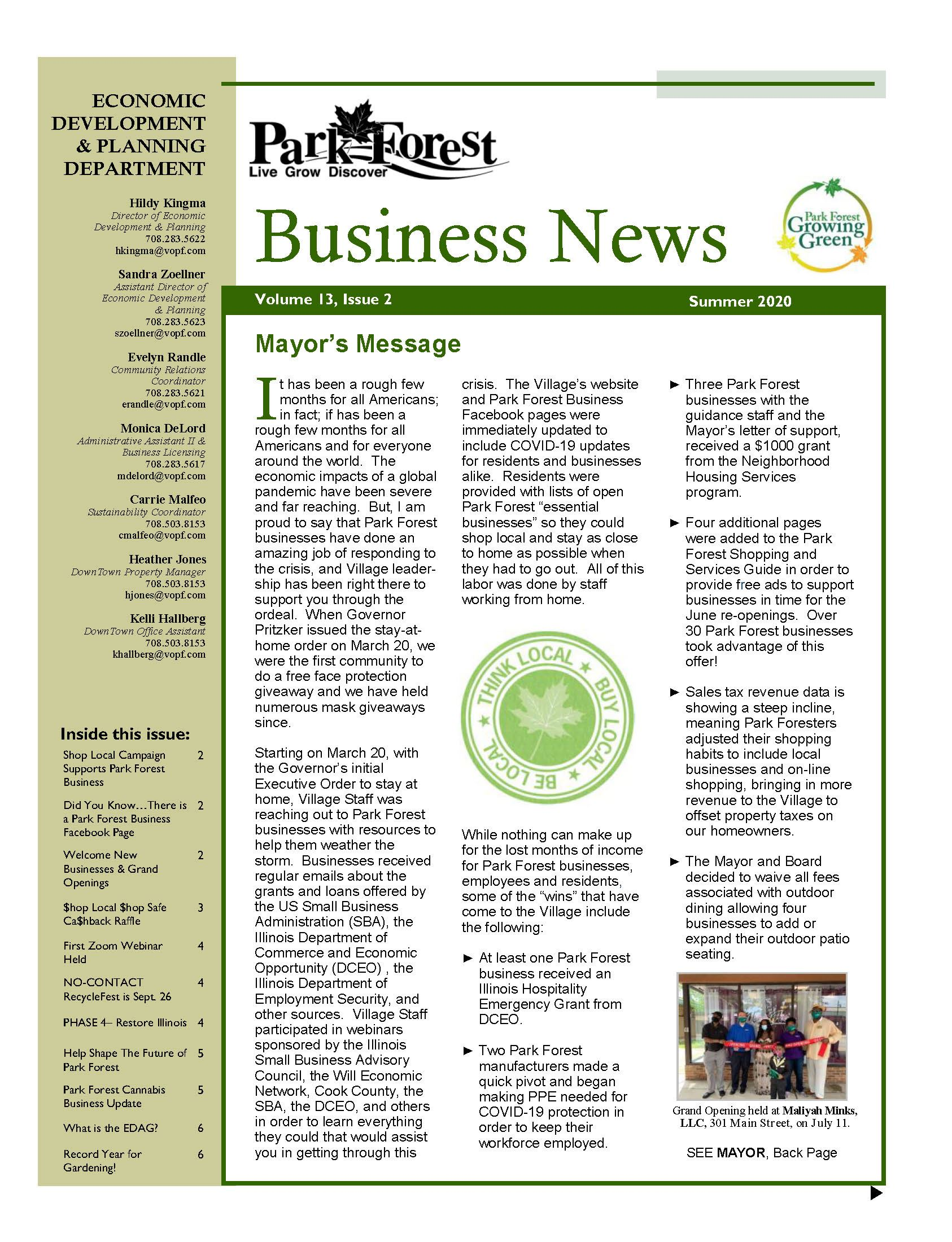 2020 Summer Park Forest Business Newsletter
