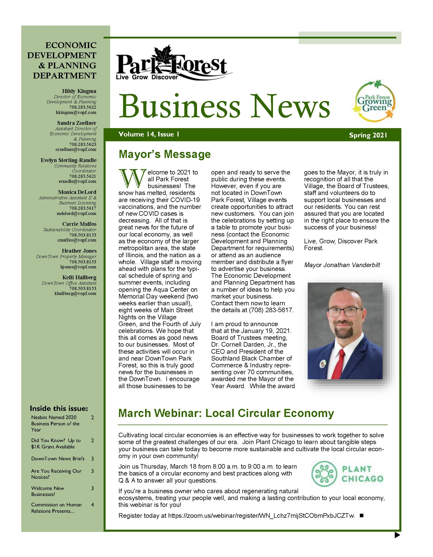 Park Forest Business Newsletter Spring 2021
